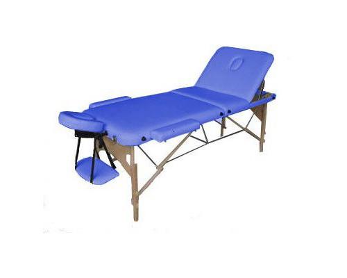 Массажный стол 3-х секционный (дерев. рама) Relax синий HY-30110B