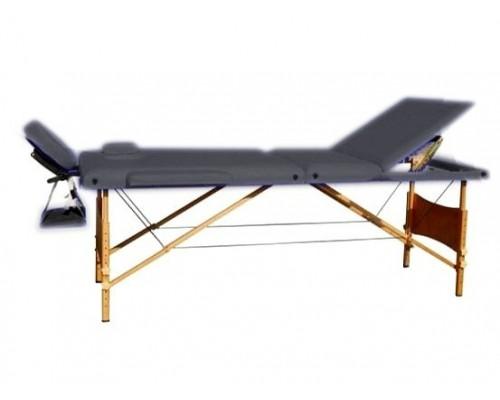 Массажный стол 3-х секционный (дерев. рама) Relax черный HY-30110
