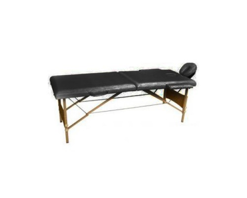 Массажный стол 2-х секционный (дерев.рама) черный HY-20110