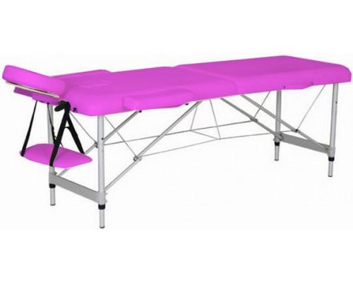 Массажный стол 2-х секционный (алюмин. рама) розовый Relax HY-2010-1.3