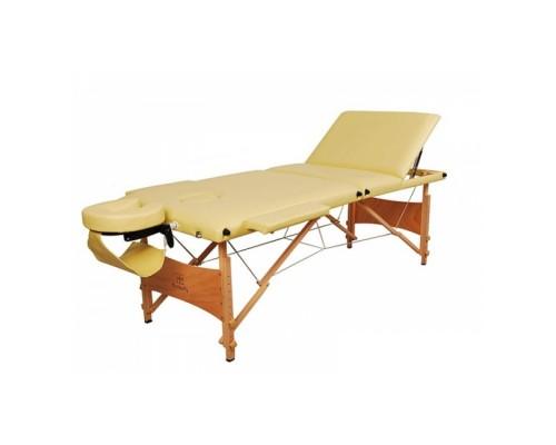 Массажный стол 3-х секционный (дерев. рама) Relax кремовый HY-30110B