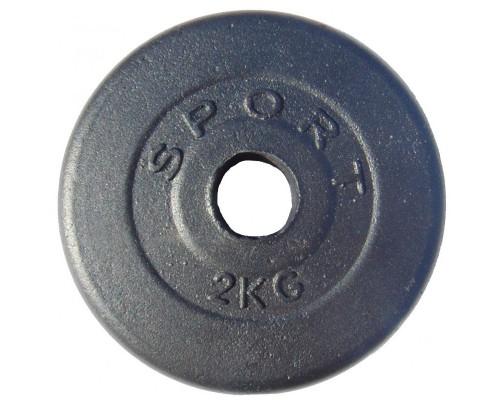 Гантельный диск обрезиненный GoodLift 2 кг ДГОБ2 черный