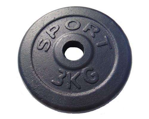 Гантельный диск обрезиненный GoodLift 3 кг ДГО3 черный