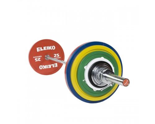 Штанга Eleiko в сборе для соревнований по пауэрлифтингу 185 кг цветная 3000228