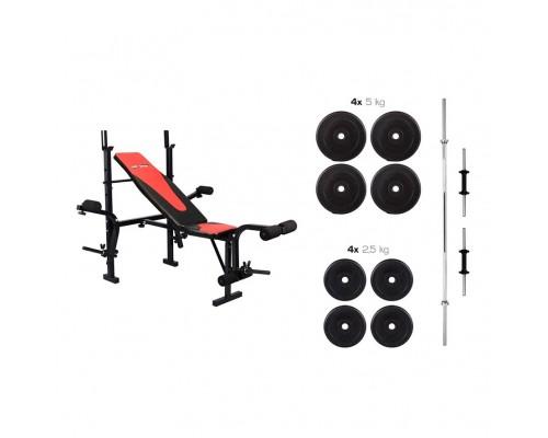 Набор Hop-Sport Premium HS-1055 39,5 кг со скамьей