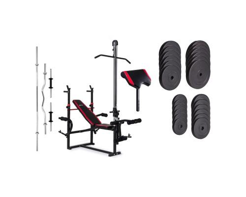 Набор Hop-Sport Premium HS-1070 128 кг со скамьей, тягой и партой