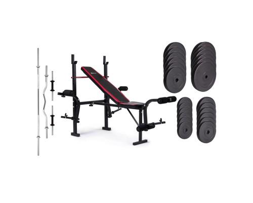 Набор Hop-Sport Premium HS-1055 128 кг со скамьей