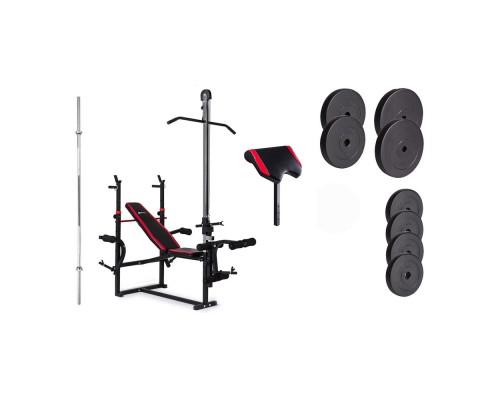 Набор Hop-Sport Premium HS-1070 48 кг со скамьей, тягой и партой